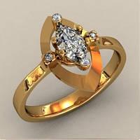 Модное золотое кольцо 585* пробы с различными вставками