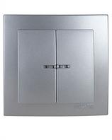 Выключатель 2-клавишный с подсветкой (Touran- серебрянный) /Nilson