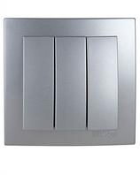 Выключатель 3-клавишный (Touran- серебрянный) /Nilson