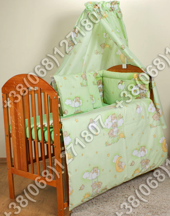 """Детское постельное белье в кроватку """"Карапуз"""" комплект 7 ед. (мишки на лесенке салатовый), фото 2"""