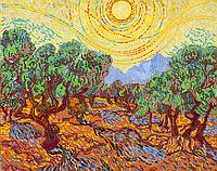 Схема для вышивки бисером Оливковые деревья с желтым небом и солнцем, размер 39х31 см