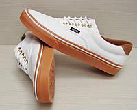 Кеды Vans женские белые с коричневой подошвой