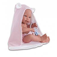 Кукла младенец PIPA 42 см в банном полотенце с игрушкой Antonio Juan 5094