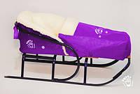Матрасик для санок на овчине и чехол на ножки PUPSik фиолетовый