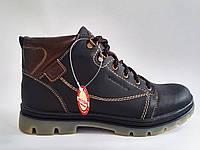 Кожаные мужские удобные стильные черные зимние ботинки, шерсть 40 Mida