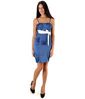 Вечернее синее платье с белым бантом