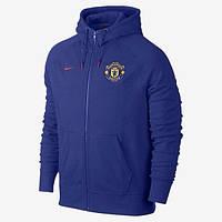 Спортивная толстовка (кофта) Nike-MU, Манчестер Юнайтед, Найк, с капюшоном, синяя, ф568
