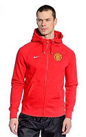 Спортивная толстовка (кофта) Nike-MU, Манчестер Юнайтед, Найк, с капюшоном, красная, ф569