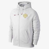 Спортивная толстовка (кофта) Nike-MU, Манчестер Юнайтед, Найк, с капюшоном, белая, ф573