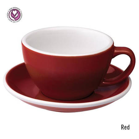 Набір чашка та блюдце для латте  Loveramics Egg 300ml Café Latte Cup & Saucer (Red)