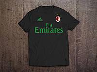Клубная футболка Милан, черная, хлопок, стильная, спортивная, в наличии, Х24