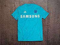 Клубная футболка Челси, бирюзовая,  хлопок, стильная, спортивная, в наличии, Х37