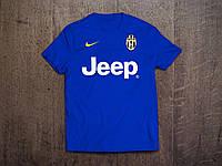 Клубная футболка Ювентус, синяя,  хлопок, стильная, спортивная, в наличии, Х44