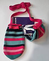 Теплые варежки на шнурке для девочки размер 74 80  86 92