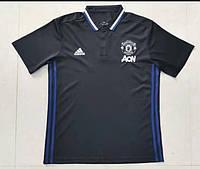 Поло Манчестер Юнайтед, МЮ, черная, вышито лого, Х63