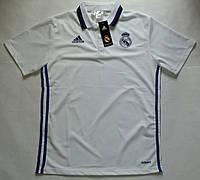 Поло Реал Мадрид, белая, с воротником, лого вышито, Х76