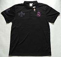 Поло Реал Мадрид, черная, вышито лого, Х80