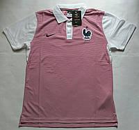 Поло сборной Франции, розовая с белым, лого вышито с воротником, Х83