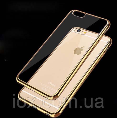 Мягкий прозрачный силиконовый чехол с золотыми ободками для Iphone 7 и Iphone 8 (4.7)