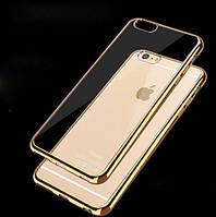Мягкий прозрачный силиконовый чехол с золотыми ободками для Iphone 7 и Iphone 8 (4.7), фото 1