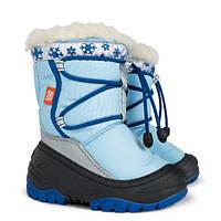 Детские зимние сапоги-дутики Demar (Демар) Фуззи голубые р.20--29 теплющие