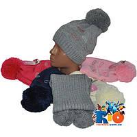 Комплект - вязаная шапочка с шарфиком арт.1625 , на флисе , для девочек (р-р 48-50)