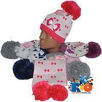 Комплект - вязаная шапочка с шарфиком арт.1627 , на флисе , для девочек (р-р 48-50)