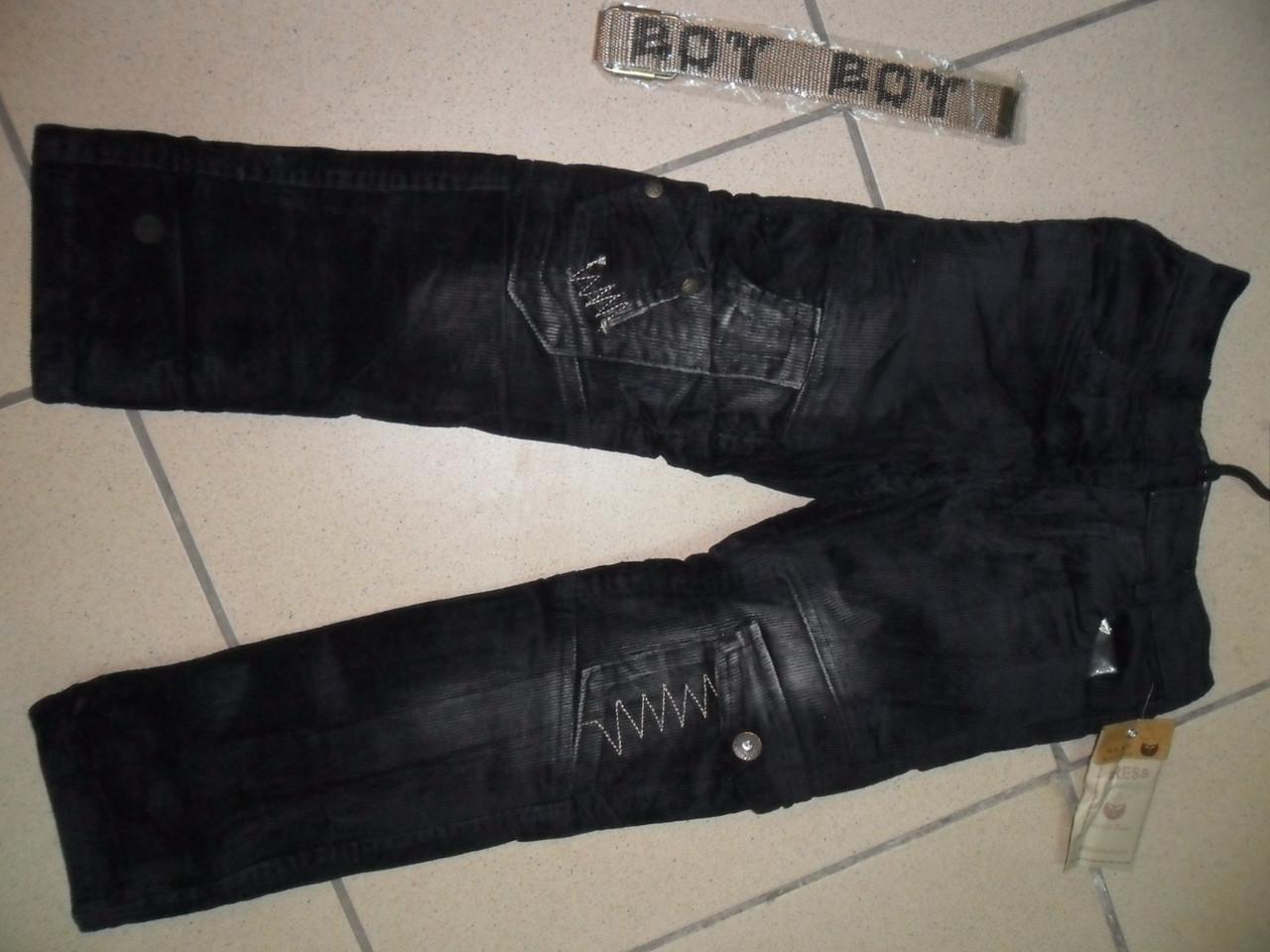 Вельветовые брюки на флисе, размеры 104-110 9781