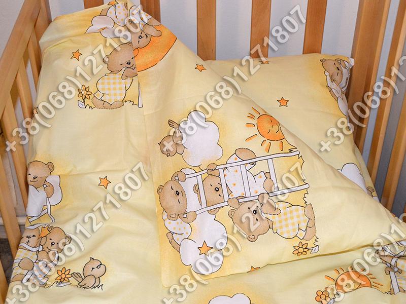 """Детское постельное белье в кроватку """"Карапуз"""" комплект 6 ед. (мишки на лесенке бежевый)"""