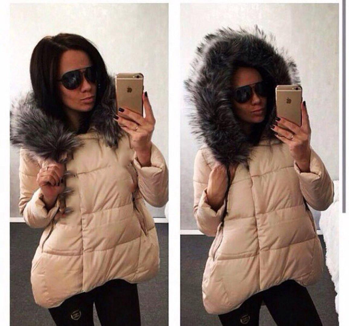 b1750823be8 Асимметричная женская куртка однотонная с меховым капюшоном -  Интернет-магазин одежды