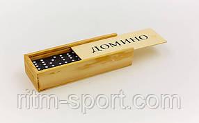 Домино в деревянной коробке (размер коробки 14,8*5*3 см)