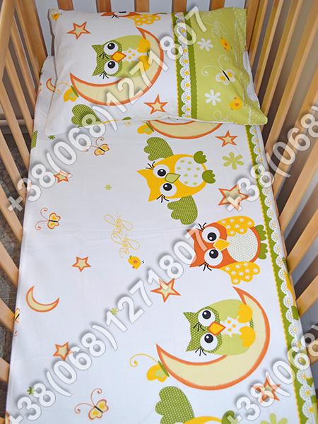 Детское постельное белье в кроватку, постельный комплект (сова салатовый)