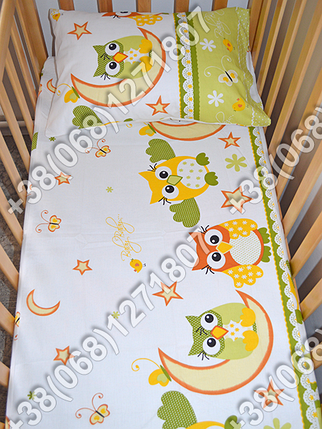 Детское постельное белье в кроватку, постельный комплект (сова салатовый), фото 2