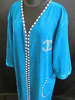 Жіночі велюрові халати великого розміру, фото 1