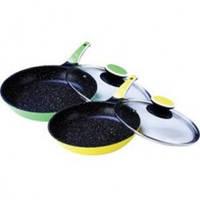 Сковорода Maestro с крышкой 24 см (желтая, зеленая)
