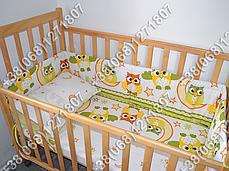 Детское постельное белье и защита (бортик) в детскую кроватку (сова салатовый), фото 2