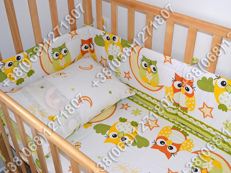 Детское постельное белье и защита (бортик) в детскую кроватку (сова салатовый)