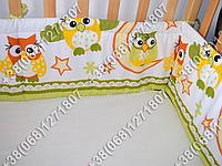 Бортики в детскую кроватку защита бампер Сова салатовая