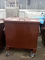 Бак мусора с крышкой металл 2мм 1,1 м.куб., цинк+эмаль, бесплатная доставка по Украине