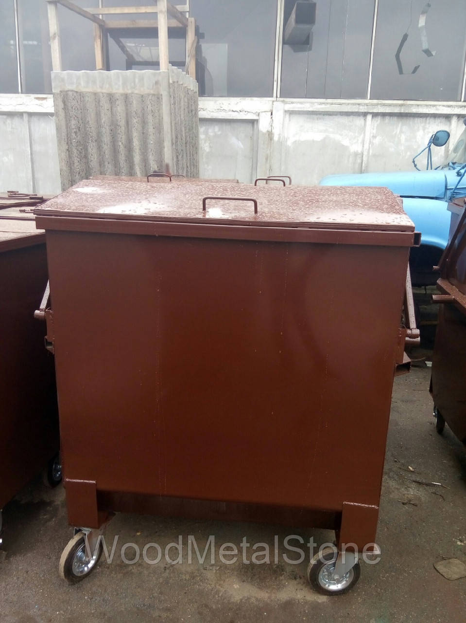 """Бак мусора с крышкой металл 2мм 1,1 м.куб., цинк+эмаль, бесплатная доставка по Украине - ПП """"БУСЕЛ'' в Хмельницком"""