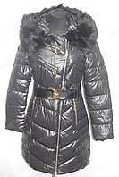 Зимний женский пуховик на замке с капюшоном черный