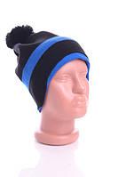 Стильная шапка Адидас. 50% шерсть. (Черно-синий)