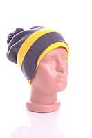 Стильная шапка Адидас. 50% шерсть. (Серо-желтый)