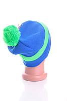 Стильная шапка Адидас. 50% шерсть. (Салатово-синий)