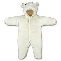 Детский теплый комбинезон Панда с капюшоном, на кнопках, на рост - 62, 68, 74, 80 см. (арт.12-03)