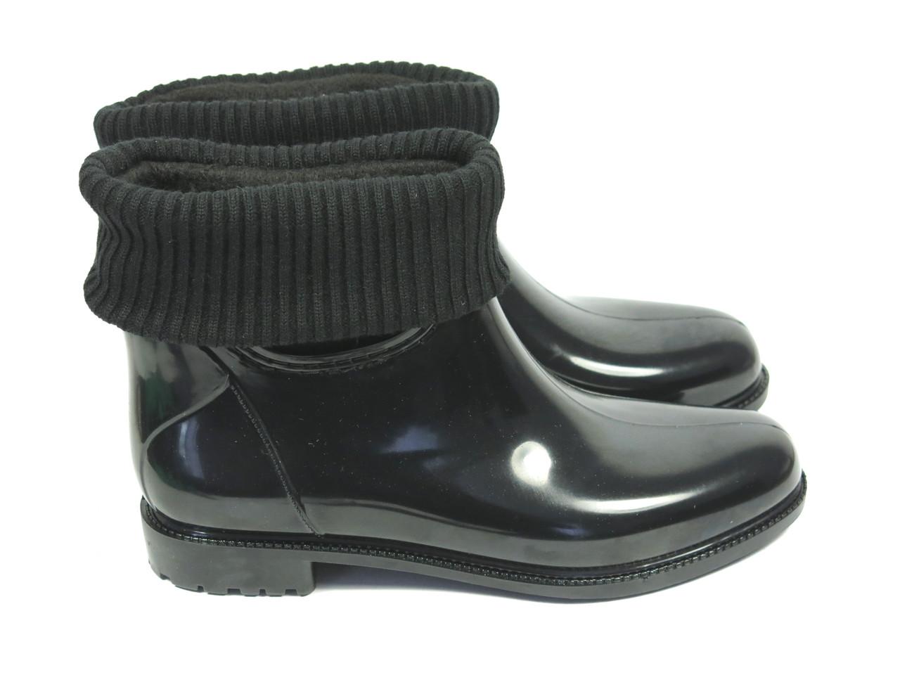 Короткие резиновые сапоги с чулком черные  РАЗМЕРЫ 35 , 36