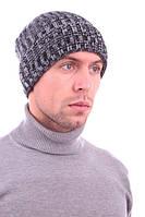 Модная шапка с балабоном. 50% шерсть. (Серый)
