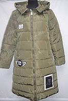 Зимнее женское пальто на замке с капюшоном хаки