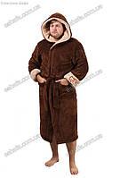 Мужской махровый халат на запах с капюшоном коричневый