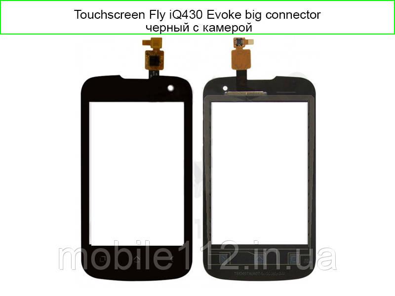 Тачскрин для Fly iQ430 Evoke, чёрный, с камерой big connector/ small connector